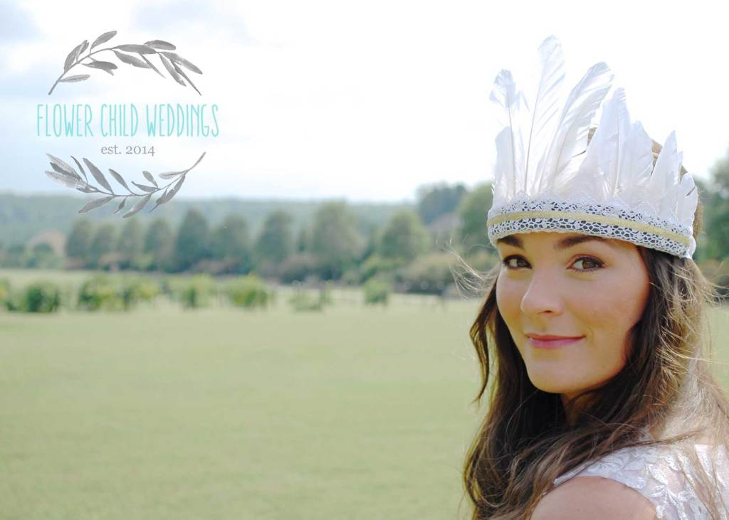 handmade feather crown by flower child weddings