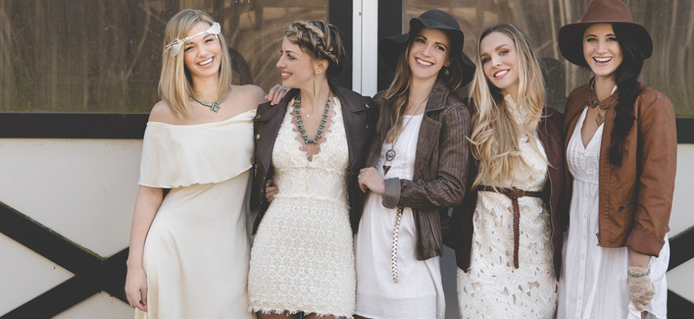 boho equestrian bridesmaids flower child weddings bohemian